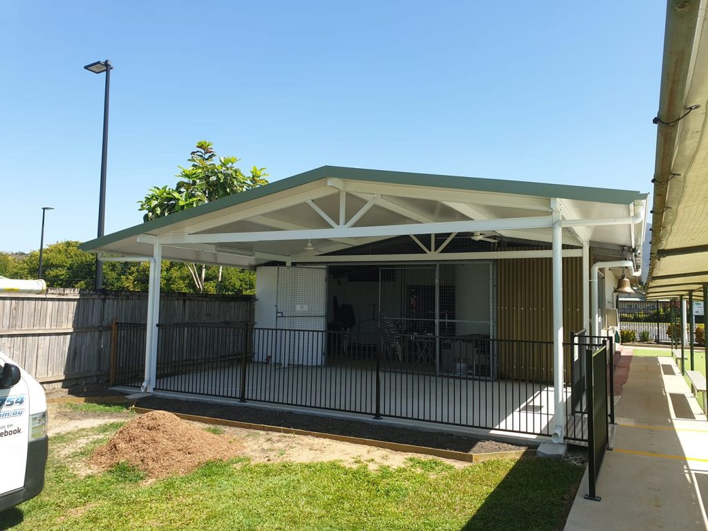 Gable roof patio constructed by Oz Patios & Sheds Cairns